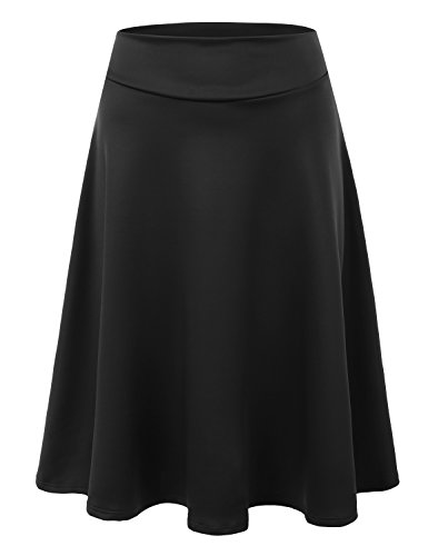 Doublju Womens High Waist Midi ALine Skirt Black 2XL