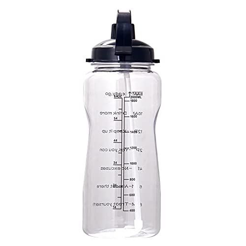 QAZW Half Gallon/64oz Motivational Water Bottle with Time Marker, Leakproof BPA Free Water Jug to Remind You Drink More Water,White-128OZ