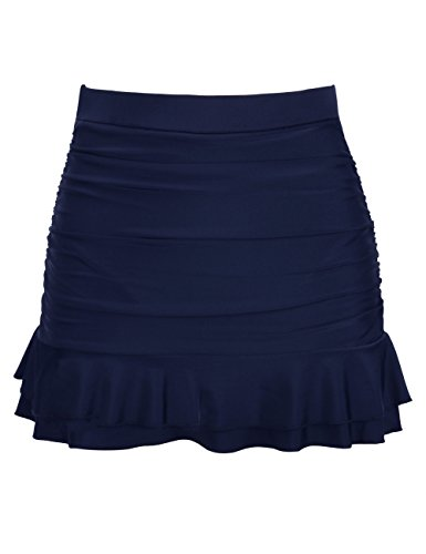 Hilor Women's Skirted Bikini Bottom High Waisted Shirred Swim Bottom Ruffle Swim Skirt Navy 14(fits 10