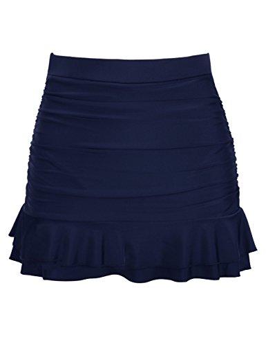 Hilor Women's Skirted Bikini Bottom High Waisted Shirred Swim Bottom Ruffle Swim Skirt Navy Tag Size 22(fits 18)