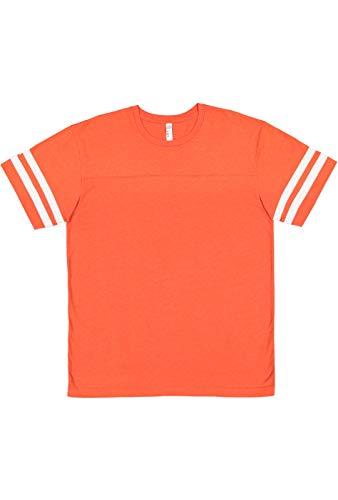 LAT Youth Jersey Crew Neck Short Sleeve Football Tee, Vinatge Orange Blended White, Medium