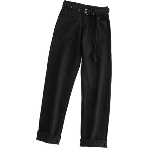 Pantalones Vaqueros deliciosos para Mujer, Pantalones de Pierna Recta de Cintura Alta, Que prensan Todo-fósforo, Trabajo de Oficina, Color sólido Simple XL