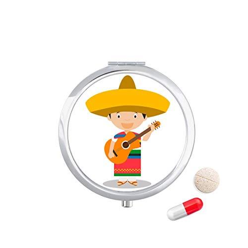 DIYthinker Hoed Gitaar Mexico Cartoon Travel Pocket Pill Case Medicine Drug Opbergdoos Dispenser Spiegel Gift
