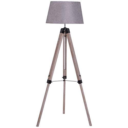 HOMCOM Wooden Adjustable Tripod Free Standing Floor Lamp Bedside Light E27 Bulb Compatible