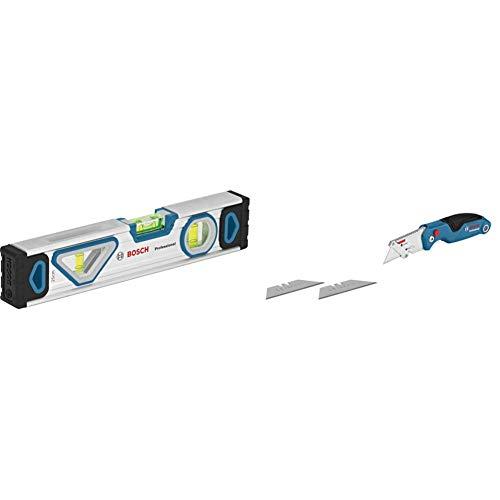 Bosch Professional Wasserwaage 25 cm mit Magnet System (rundum ablesbar, Aluminium-Gehäuse, robuste Endkappen) & Universal Klappmesser mit Klingenfach im Metall-Griff (inkl. 2 Ersatzklingen)