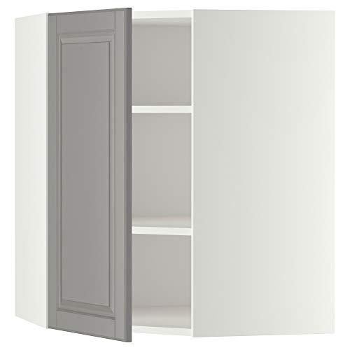 METOD hörnväggskåp med hyllor 67,5 x 67,5 x 80 cm vit/Bodbyn grå