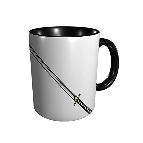 Katana - Taza de cerámica con diseño de espada japonesa y espada de samurái, taza de café, taza de té, para oficina y hogar, regalo de salud, capacidad máxima 11 oz, impresión completa