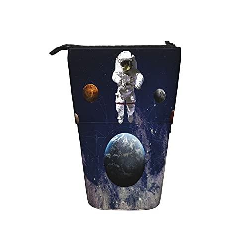 Astuccio telescopico Astuccio per cancelleria,Astronauta nello spazio cosmico I pianeti Glo,Supporto per matite Stand Up Astuccio per cosmetici con cerniera per l ufficio del college scolastico