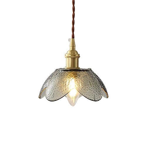 Ahzhlb Retro Pendant Ceiling Light Fittings Petal Glass Lampshade Chandelier Bedside Hanging Lamp, Creative Suspension Lantern for Kitchen Island, Bedroom, Corridor, Bar