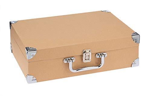 Glorex Maleta de viaje de cartón certificado FSC sostenible, aprox. 35,5 x 25 x 10 cm, de papel maché, para pegar, pintar, para decoración o técnica de servilletas, marrón natur