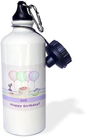 GFGKKGJFD612 Beverly Turner Geburtstags-Design – th White Icing Cake mit Luftballons und Vase von Blumen, Pastell-Weiß, Aluminium Sport-Wasserflasche