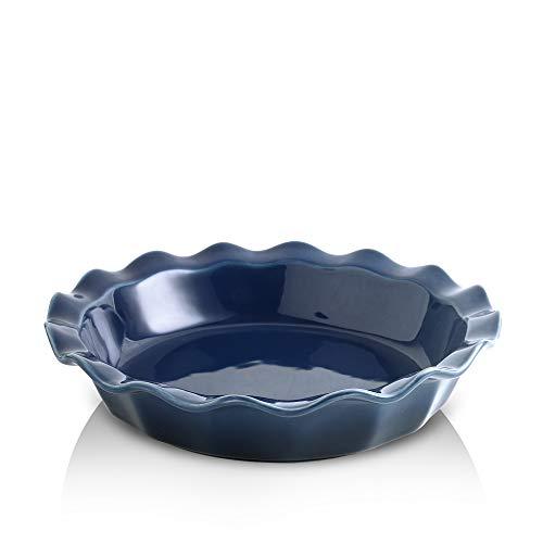 KOOV Ceramic Pie Dish, 9 Inches Pie Pan, Pie Plate for Dessert Kitchen, Round Baking Dish for Dinner, Gradient Series (Aegean)