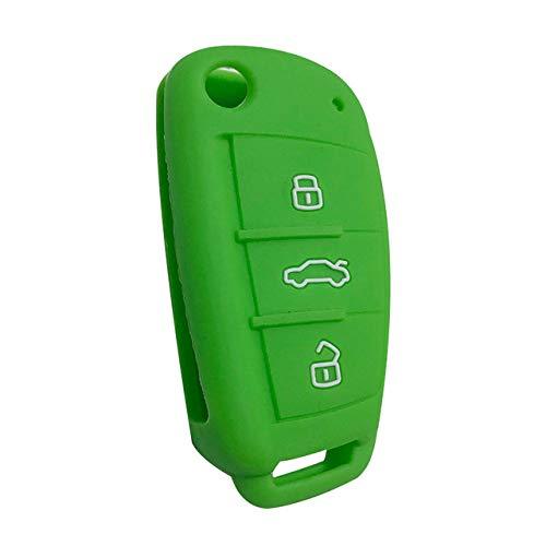 MKDLB Funda de Silicona para Llave de Coche para Audi Sline A3 A5 Q3 Q5 A6 C5 C6 A4 B6 B7 B8 TT 80 S6 Auto Key Cover Holder Protector Accesorios, Verde