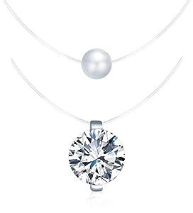 Yumilok 925 Sterling Silber Zirkonia Perle Anhänger Halskette Set Collier Nylonband Kette mit Anhänger für Damen Mädchen, 2 Stücke