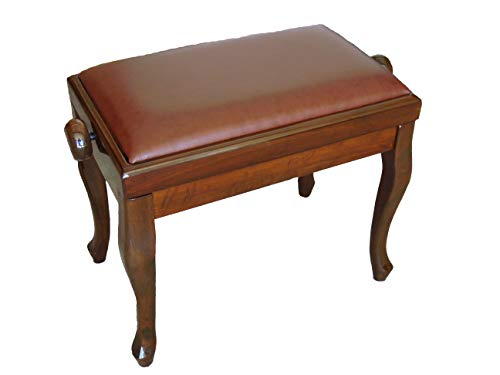 Genuine Leather Adjustable Classic Piano Bench Stool in Walnut
