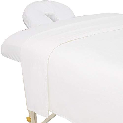 ForPro Premium Flannel 3-Piece Massage Sheet Set, White, for Massage Tables, Includes Massage Flat Sheet, Massage Fitted Sheet, and Massage Fitted Face Rest Cover