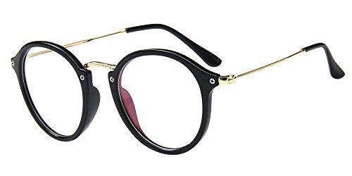 BOZEVON Klare Linse Transparente Gläser - Runde Ultradünne Metallrahmen Lesebrille Dekor Retro Brillen Brillen Für Männer Frauen Helle Schwarz (Cateye)