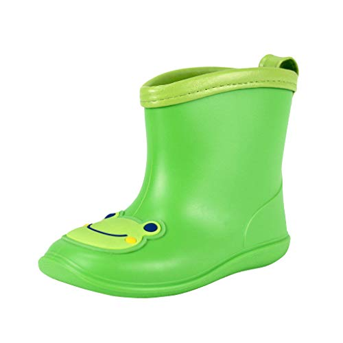 Toddler Rain Boots Baby Rain Boots Short rain Boots for Toddler Easy-on Lightweight and Waterproof Green