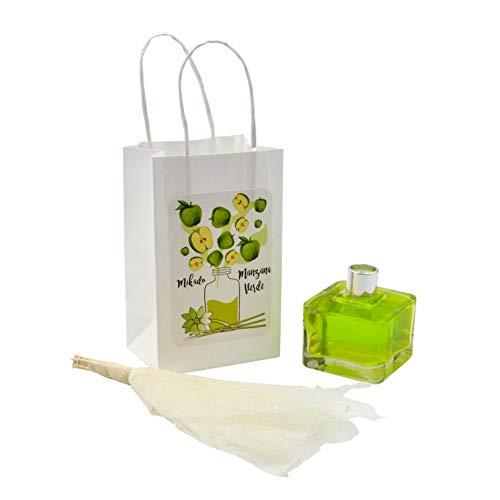 Lote de 8 Mikados Flor Perfumes a Elegir en Bolsa Decorativa. Regalos Originales. Ambientadores. Complementos. Detalles para Bodas, Comuniones, Bautizos y Cumpleaños. CC (MANZANA VERDE)