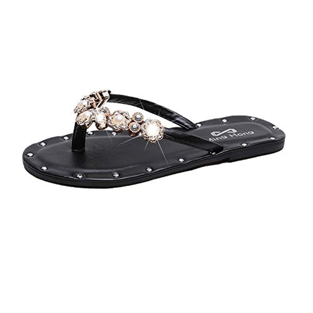 水族館雄大な週末サンダル レディース サンダル 歩きやすい 旅行 女の子 サンダル 2019年夏 外の人間の言葉スリッパの韓国版を着用女性のフラットボトム快適なクールなスリッパ 女性のカジュアルなビーチシューズ(35サイズ、22.5cm)