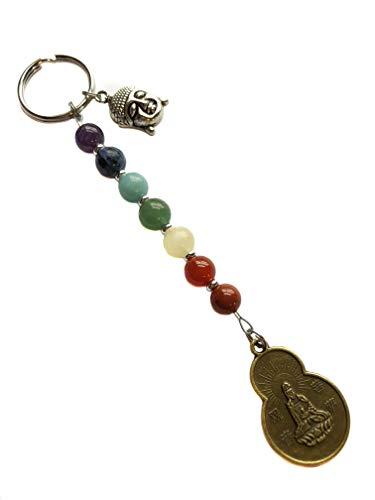 7 Chakras Energy Gemstone, Quan Yin Goddess Buddha Blessings Coin Keychain, Key Chain, Bag Charm