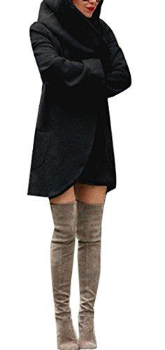Womens Casual Hoodie Long Sleeves Open Front Asymmetrical Hem Cardigan Coats Black 2XL