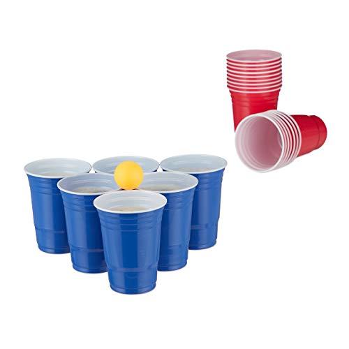 Relaxdays Bierpong Becher Set, Bier Pong Set mit 6 Bällen, 50 Beer Pong Becher, Trinkspiel, Partybecher 16 oz, rot/blau