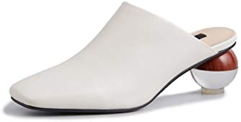 MENGLTX High Heels Sandalen 2019 Neue Ankunft Frauen Pumpt Echte Lederne Schuhe Eckige Zehe Sommer Schuhe Gleiten Auf Mode Mules Schuhe Frau B07QLW126D  Online-Shop