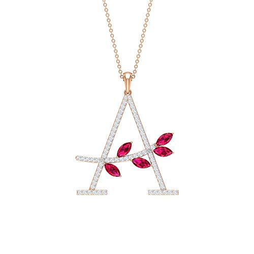 1.00 CT A Alphabet Pendant in Gold, HI-SI Diamond Cluster Initial Letter Charm Pendant, Marquise Ruby Lab Created Petal Necklaces, Birthstone Pendants, 14K Rose Gold Without Chain