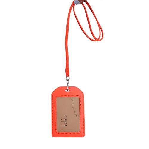 Boshiho IDカードホルダー 本革 IDカードケース 縦/横型 ネームホルダー 背面ポケット付き 社員証・名札ケース・定期入れ・パスケース おしゃれ 首掛け ネックストラップ リール付き 名刺ホルダー