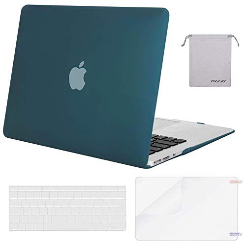 MOSISO MacBook Air 13 inch Case (A1369 & A1466, Older Version 2010-2017 Release), Plastic Hard Shell & Keyboard Cover & Screen Protector & Storage Bag Compatible with MacBook Air 13, Deep Teal