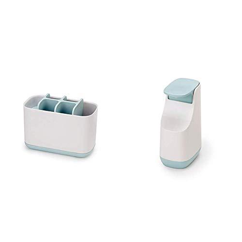 Joseph Joseph Slim - Kompakter Seifenspender - weiß/blau + Easy-Store - Großer Zahnbürstenhalter, weiß/blau