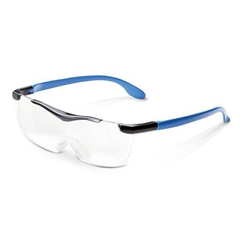 エレコム 拡大鏡 メガネ型ルーペ 1.6倍 UV/ブルーライトカット クリアレンズ ネックストラップ付 ブルー L-BUC16-L01BU