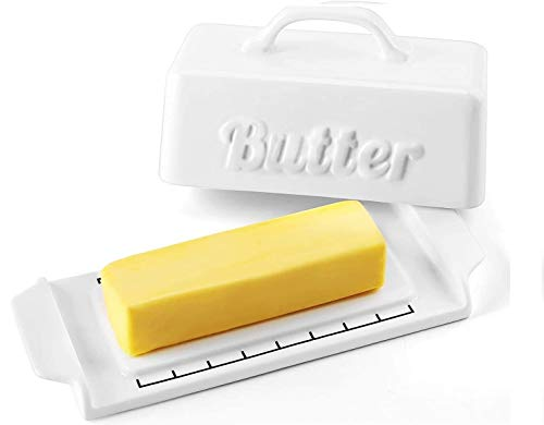 DOWAN Butter Dish with Lid - Porcelain Butter Container with Wooden Knife and Groove Design, Mini Butter Dishes with Covers, Perfect for Standard Butter Stick, White