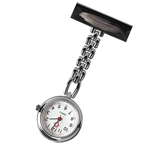 CHFQ Reloj de Bolsillo de Mesa de Enfermera de Moda Caliente con Mini Relojes de Cuarzo de Cadena de Broche de Clip, Relojes