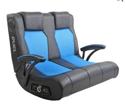 X-Rocker Dual Commander Gaming Chair 2.1 Audio and AFM Technology Two Built-in Speakers and subwoofe for Kids,Teens,Boys Or Girls Seat for Games,Tv Room Console (Black/Blue) chair gaming