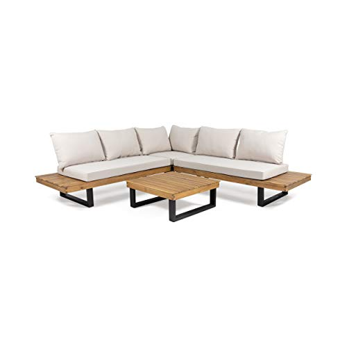 Christopher Knight Home 312764 Jerome Outdoor Acacia Wood 5 Seater Sofa Sectional, Teak and Beige