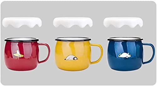 ywewsq Kettle - Juego de 3 Tazas de Desayuno esmaltadas para niños y Adultos, Taza de café con Leche, Taza Colorida, Taza para Beber para el hogar, Regalo de diseño Lindo y Divertido, se Puede Usar