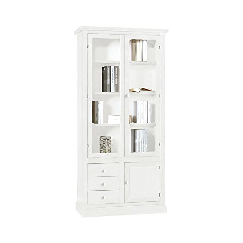 InHouse srls Libreria, Arte povera, in Legno massello e MDF con rifinitura in Bianco Opaco - Mis. 90 x 41 x 186