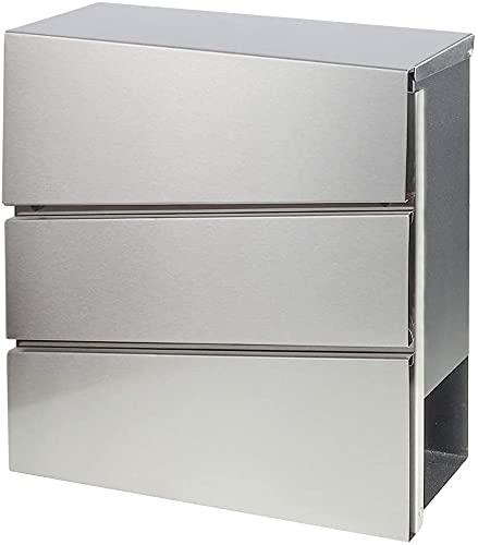 Stainless Steel Mailboxes with Key Lock, Wall Mounted Large Capacity Mailbox, Silver, 14 1/5