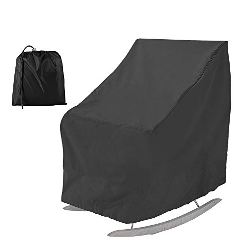 PandaHug Patio Rocking Chair Cover Waterproof Oxford Fabric Heavy Duty Veranda Reclining Garden Chair Cover Outdoor Furniture Protective Cover (Black)