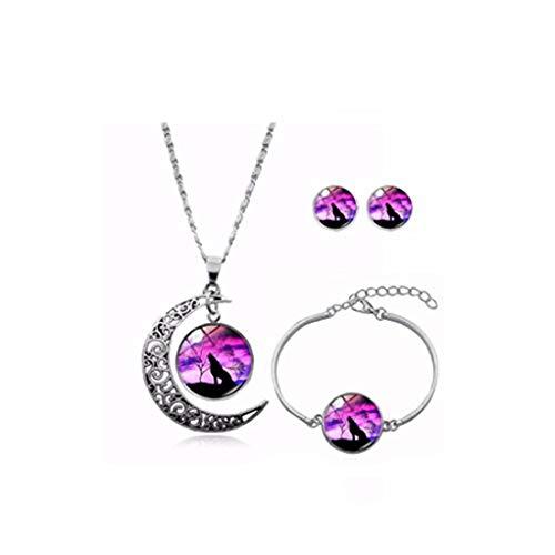 Youkeshan Conjunto de joyería con colgante vintage de luna de lobo Lureme de la serie de gemas del tiempo