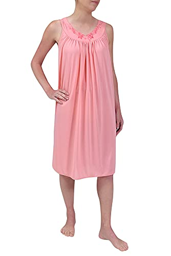 Miss Elaine Nightgown - Women s Short Nylon Tricot Gown, Sleeveless Gown with Petal Embriodery at Round Neck (Medium, Coral Ice)