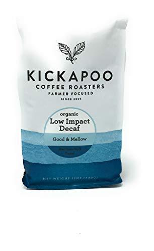 Decaf Low Impact Organic, Kickapoo Coffee 12 oz bag, Whole Bean Coffee