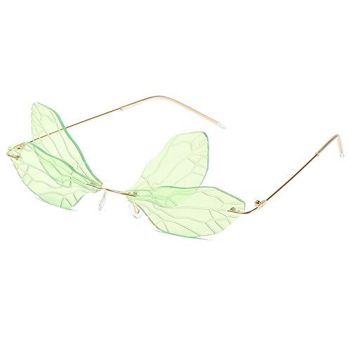 HAOMAO Vintage Dragonfly Uv400 Steampunk Gafas de Sol sin Montura para Mujeres Hombres Clear Ocean Lens Eyewear Shades Greena