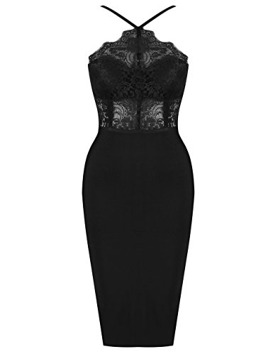 UONBOX Women's Sexy Lace Spliced Backless Spaghetti Strap Halter Cocktail Party Bandage Dress Black S (Apparel)