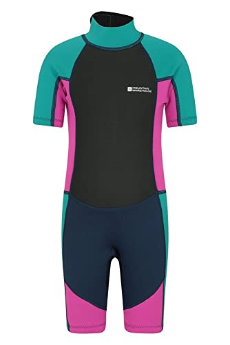 Mountain Warehouse Junior Kids Shorty Wetsuit - 2.5mm Thickness, Neoprene Kids Wetsuit, Flat Seams Childrens Wetsuit, Adjustable Neck Swimming Suit Grape 7-8 Years