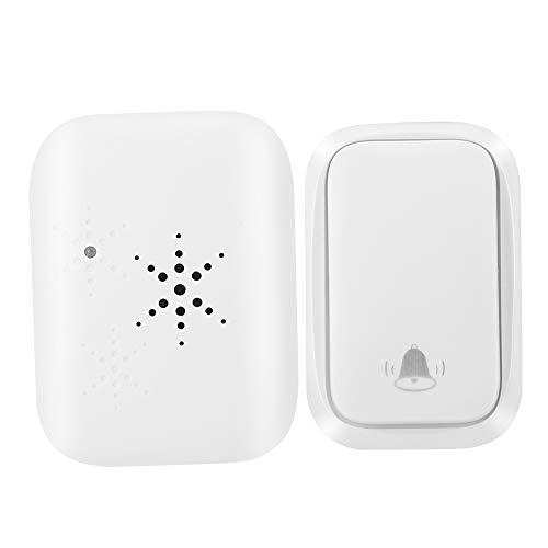 Timbre de puerta inalámbrico inteligente, timbre de puerta inalámbrico de energía autogenerada, timbre de puerta impermeable IP68, blanco(1 transmisor + 1 receptor)