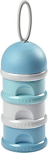 BÉABA Recipiente dosificador de leche en polvo, Dispensador de Leche Bebé, Apilable, 3 Compartimentos, 100% Hermética, Uso evolutivo como caja de snacks, Azul/Verde/Gris