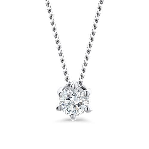 Orovi Damen Diamant Kette Weißgold, Halskette mit Solitär Diamant Anhänger 18 Karat (750) Gold und Diamant Brillanten 0.12 Ct, 45 cm lang Halskette Handgemacht in Italien